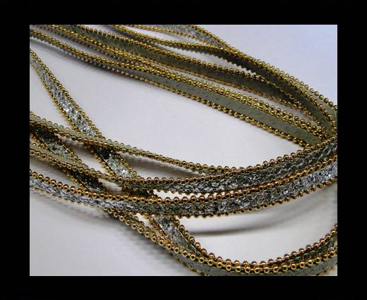 synthetic nappa leather with chains-10mm-Silver