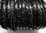 imitation nappa leather 6mm Rattle Snake Style - black