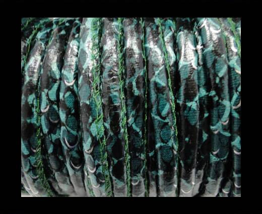 imitation nappa leather 6mm Rattle Snake Style - dark green