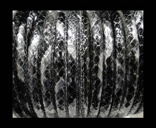imitation nappa leather 6mm Rattle Snake Style - oblong grey