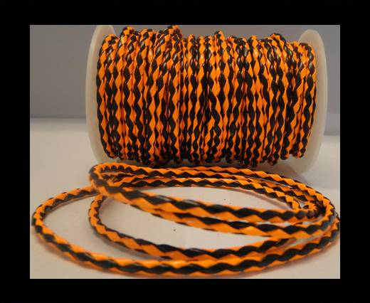 synthetic nappa leather 4mm - Neon Orange and Black