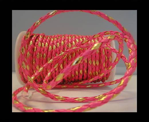 synthetic nappa leather 4mm - Neon Pink and Gold