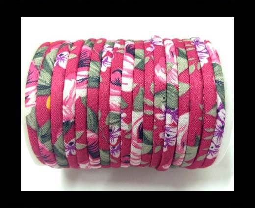 Fabric with flowers round-4mm-Fuchsia