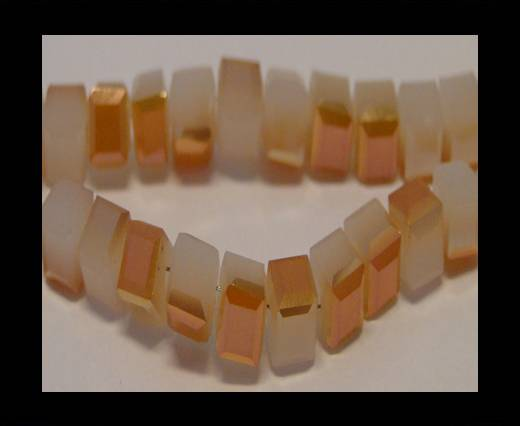 Faceted Cubes-6mm-White Jade. Half Wine Red