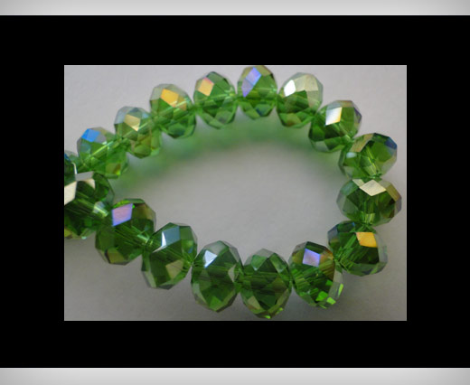 Faceted Glass Beads-8mm-Fern-Green-AB