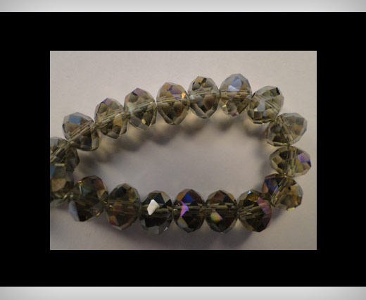 Faceted Glass Beads-8mm-Smokey-Quartz-AB
