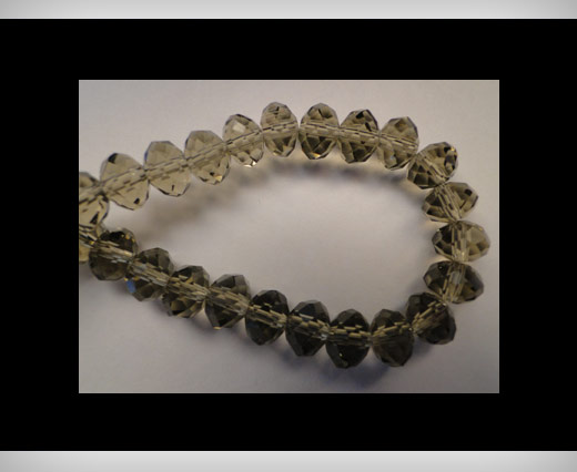 Faceted Glass Beads-8mm-Smokey-Quartz