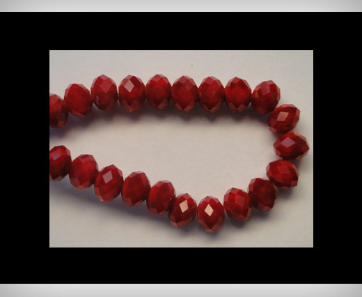 Faceted Glass Beads-8mm-Wine-Red