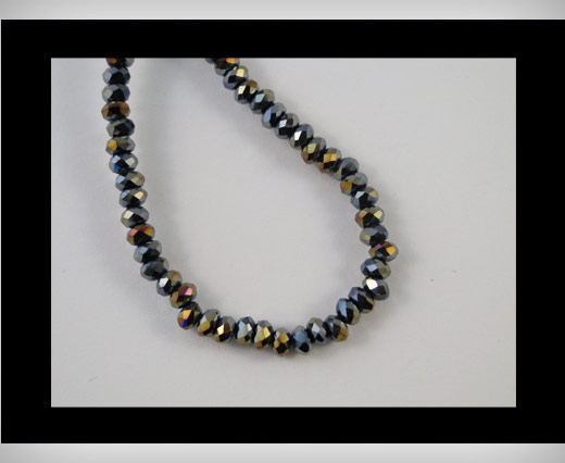Faceted Glass Beads-6mm-Black Quartz AB