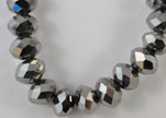 Faceted Glass Beads-6mm-Metallic Grey