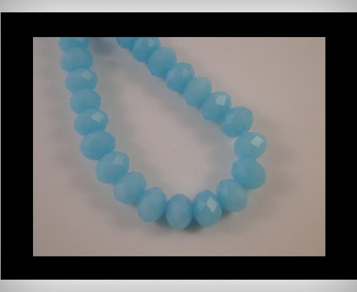 Faceted Glass Beads-6mm-Sea Blue