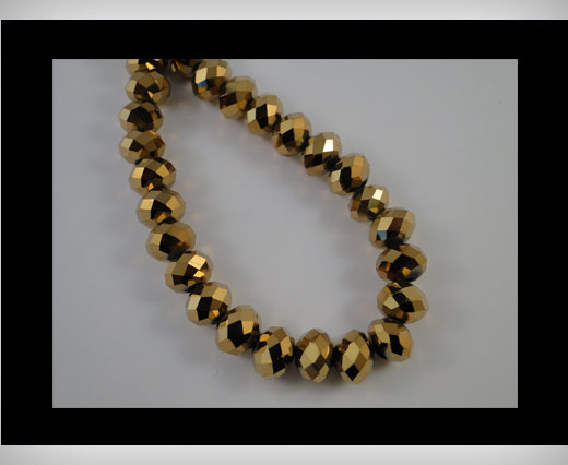 Faceted Glass Beads-8mm-Golden shadow