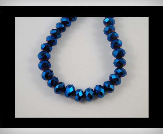 Faceted Glass Beads-8mm-Metallic blue