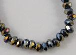 Faceted Glass Beads-18mm-Black Quartz AB