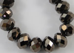 Faceted Glass Beads-18mm-Metallic Black