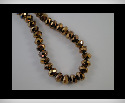 Faceted Glass Beads-18mm-Metallic Bronze