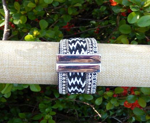 Leather Bracelets Supplies Bracelet10- Black And White