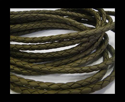 Fine Braided Nappa Leather Cords-5mm-GREENISH GREY