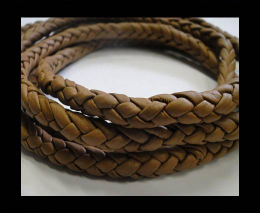 Fine Braided Nappa Leather Cords-Dark beige-8mm