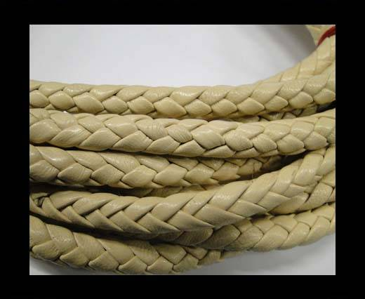 Fine Braided Nappa Leather Cords  - beige-cream-6mm