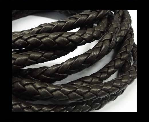 Fine Braided Nappa Leather Cords  - dark brown-6mm