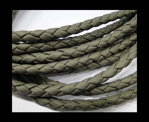 Fine Braided Nappa Leather Cords  - Dark grey-6mm