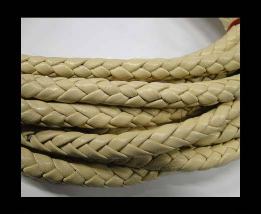 Fine Braided Nappa Leather Cords  - beige-cream-8mm