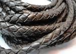 Fine Braided Nappa Leather Cords-8mm-DI PB 11 vintage dark brown
