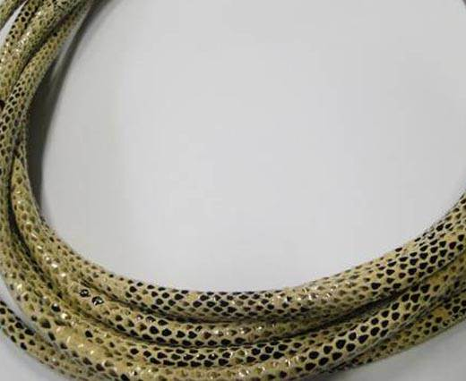 Round stitched nappa leather cord Snake-style-Version1-Cream-4mm