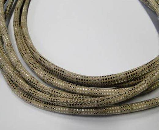 Round stitched nappa leather cord Snake-style-Version2-Cream-4mm