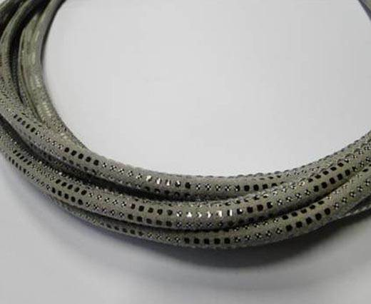 Round stitched nappa leather cord Snake-style-Version2-Grey-4mm