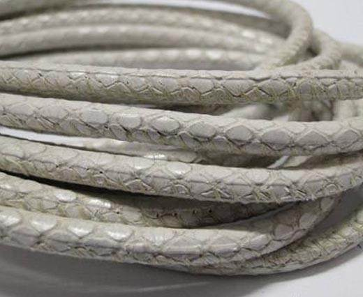 Round stitched nappa leather cord Snake-style-White -4mm