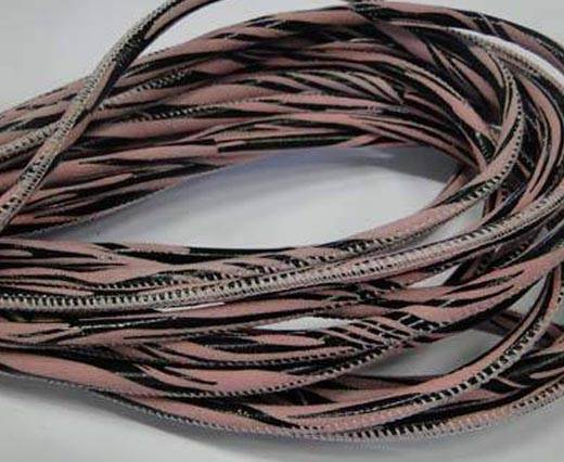 Round stitched nappa leather cord Zebra-Style -Rose-4mm