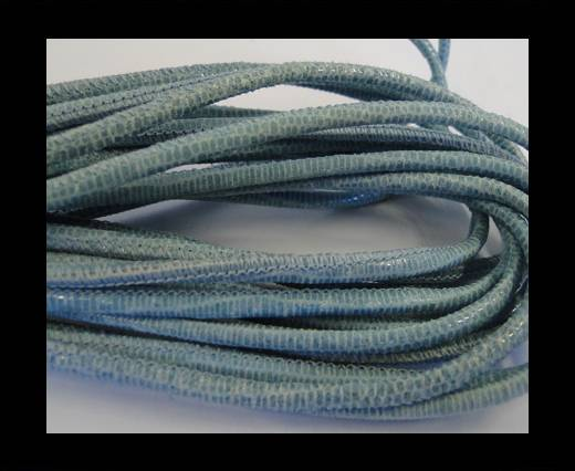 Buy Round stitched nappa leather cord 2,5mm-lizard blue + paillettes transparent at wholesale prices