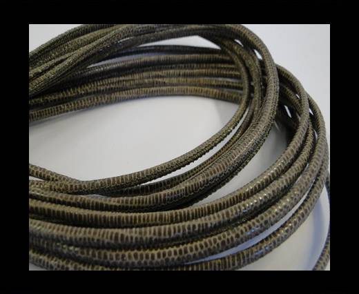 Round stitched nappa leather cord 2,5mm-lizard taupe + paillettes transparent