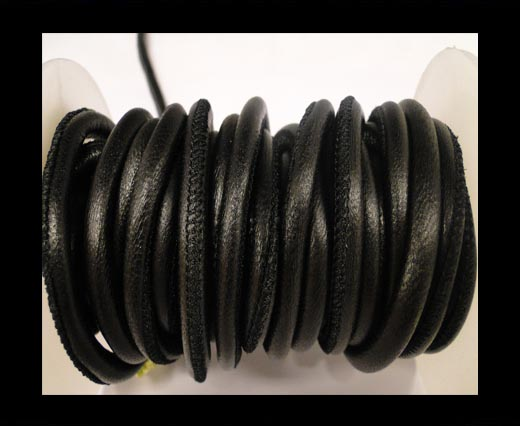 Round stitched nappa leather cord Black-6mm