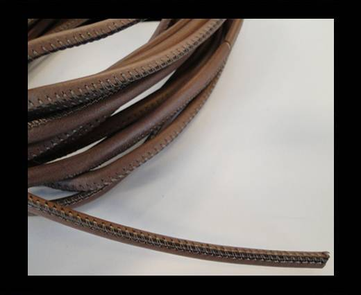 Buy Round stitched nappa leather cord Brown-4mm at wholesale prices