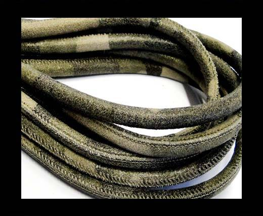 Round stitched nappa leather cord Camouflage-4mm