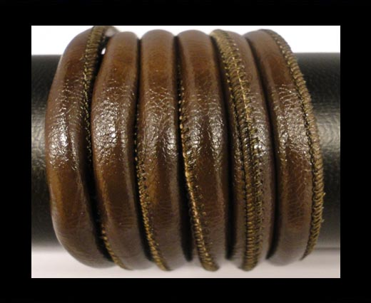 Round stitched nappa leather cord Coffee-6mm