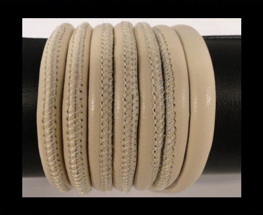 Round stitched nappa leather cord Cream-6mm