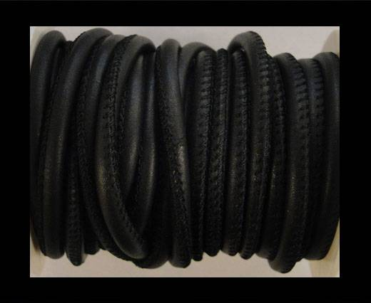 Round stitched nappa leather cord Dark Blue-6mm