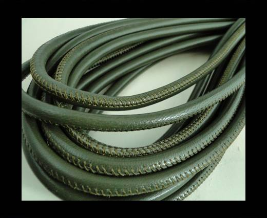 Round stitched nappa leather cord Forest Green-4mm