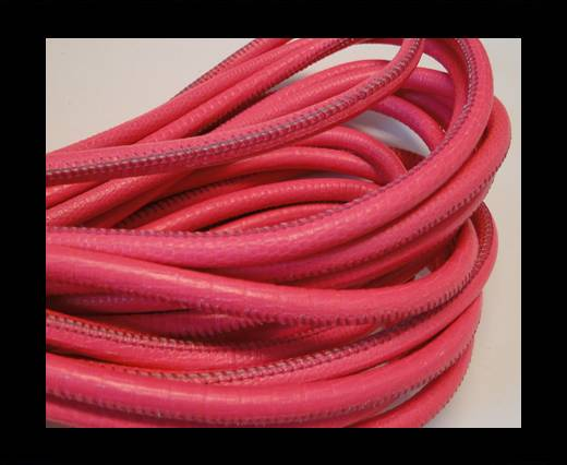 Round stitched nappa leather cord Fuchsia-4mm