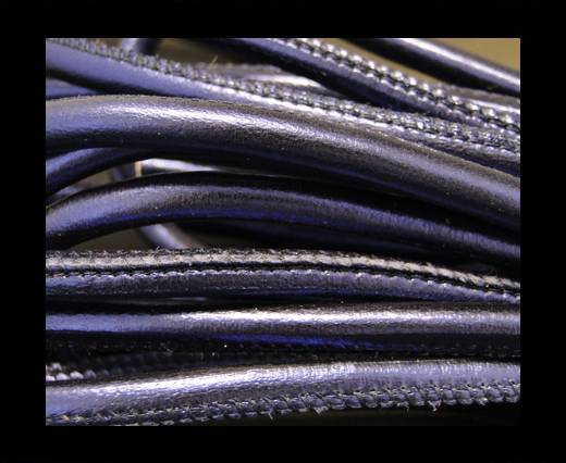 Round stitched nappa leather cord Indigo-4mm