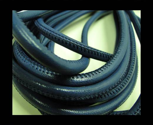 Round stitched nappa leather cord Blue-4mm