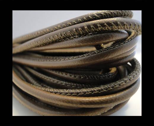 Round stitched nappa leather cord Dark Brown-2,5mm