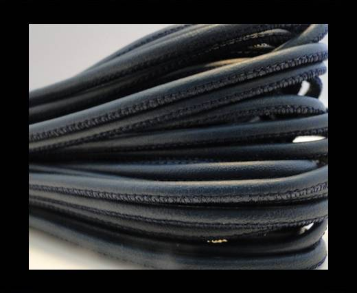 Round stitched nappa leather cord Dark blue Gray-2,5mm