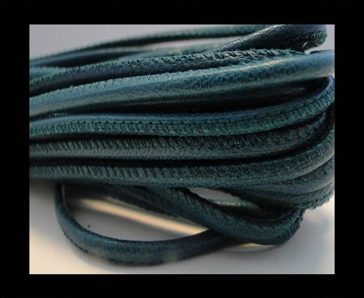 Round stitched nappa leather cord Dark Green-2,5mm