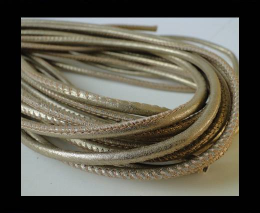 Round stitched nappa leather cord Antique Silver-2,5mm