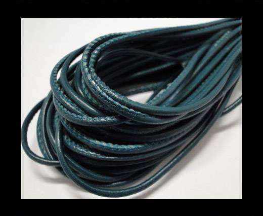 Round stitched nappa leather cord Bermuda Blue-2,5mm